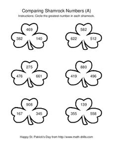 Comparing Shamrock Numbers (A) Worksheet