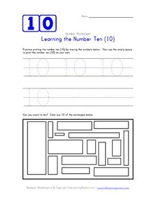 Learning the Number Ten (10) Worksheet