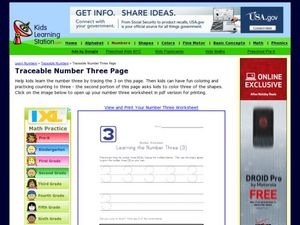 Number Worksheet: Learning the Number Three (3) Worksheet