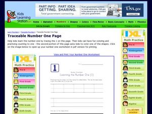 Number Worksheet: Learning the Number One (1) Worksheet