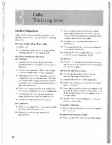 Cells: Living Units Worksheet