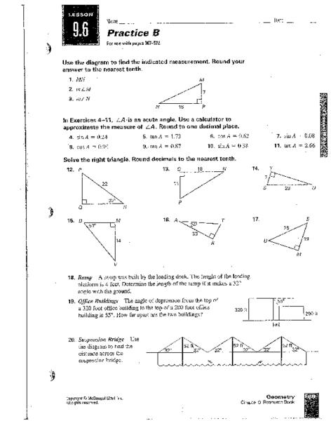 Practice B: Trigonometric Ratios Worksheet for 9th - 10th Grade ...