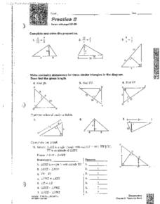 Similar Triangles and Pythagorean Triples Worksheet