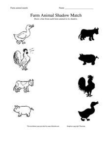 Farm Animal Shadow Match Worksheet for Pre-K - 1st Grade ...
