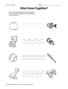 What Goes Together? - Drawing Lines Worksheet