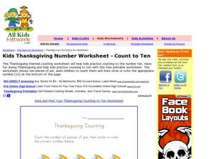 Kids Thanksgiving Counting to Ten Worksheet Worksheet