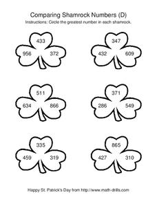Comparing Shamrock Numbers (D) Worksheet