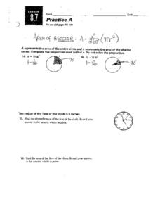 Practice A: Area of A Sector Worksheet
