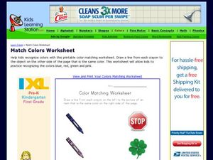 Match Colors Worksheet Worksheet