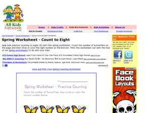 Spring Counting Eight to Worksheet Worksheet