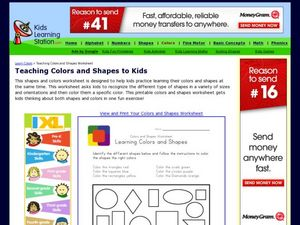 Teaching Colors and Shapes Worksheet Worksheet