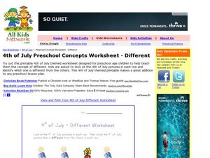 4th of July Preschool Concepts Worksheet - Different Worksheet