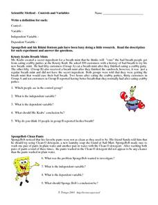 Scientific Method, Control and Variables Worksheet for 5th ...