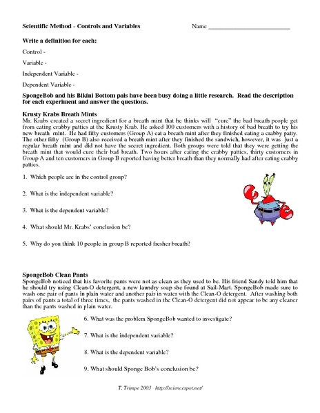 Scientific Method Control And Variables Worksheet For 5th 7th