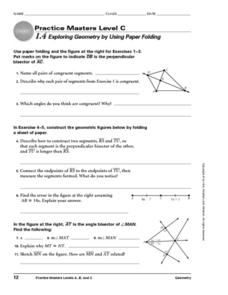 Exploring Geometry by Using Paper Folding Worksheet