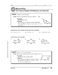 Areas of Triangles, Parallelograms, and Trapezoids Worksheet