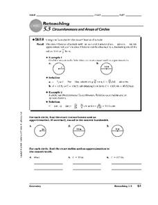 Circumferences and Areas of Circles Worksheet