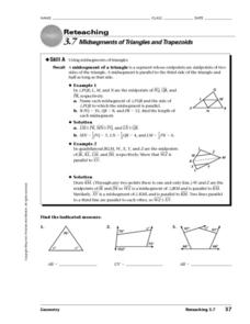 Midsegments of Triangles and Trapezoids Worksheet