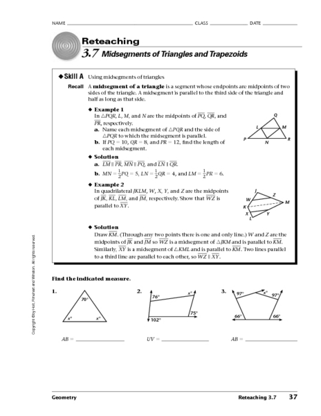 Midsegments Of Triangles And Trapezoids Worksheet For 10th