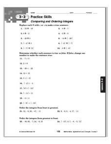 Practice Skills - Comparing and Ordering Integers Worksheet