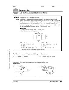 Surface Area and Volume of Prisms Worksheet