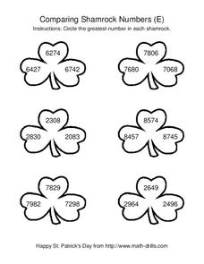 Comparing Shamrock Numbers (E) Worksheet