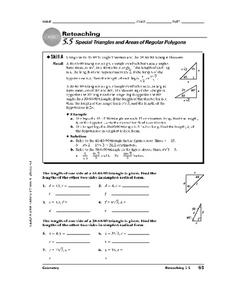 Special Triangles and Areas of Regular Polygons Worksheet