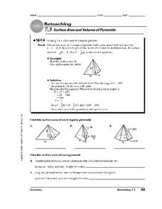 Surface Area and Volume of Pyramids Worksheet