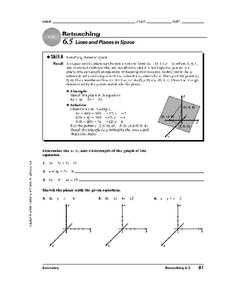 Lines and Planes in Space Worksheet
