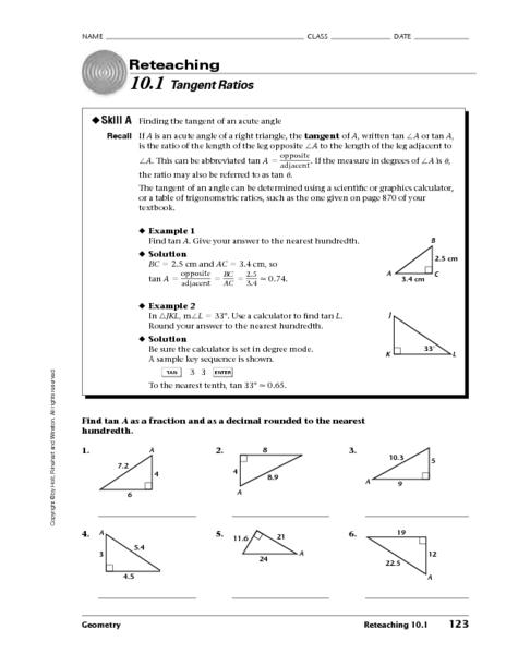 Tangent Ratios Worksheet for 10th Grade | Lesson Planet