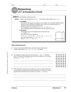 An Introduction to Proofs Worksheet