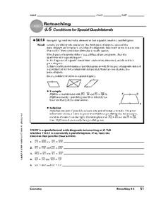 Conditions for Special Quadrilaterals Worksheet