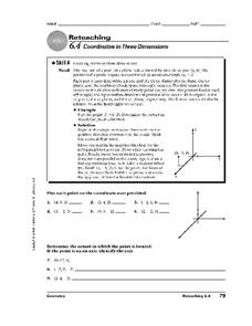 Coordinates in Three Dimensions Worksheet