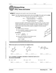 Sines and Cosines Worksheet