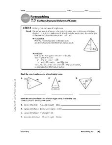 Surface Area and Volume of Cones Worksheet