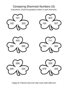 Comparing Shamrock Numbers (G) Worksheet