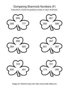 Comparing Shamrock Numbers (F) Worksheet