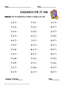 Multiplication Drill: 7X Table Worksheet