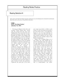 Reading Retake Practice: Lego Worksheet