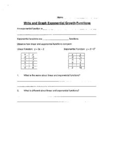 Exponential Graph Functions Worksheet