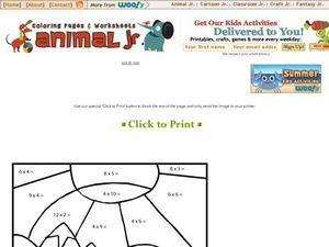 Multiplication Products Key to Coloring Worksheet