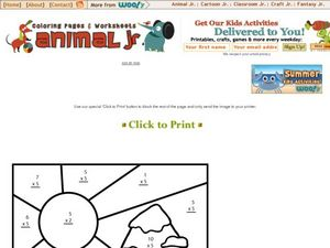 Multiply and Color Winter Scene Worksheet
