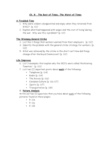 Ch. 8:  The Best of Times, The Worst of Times Worksheet