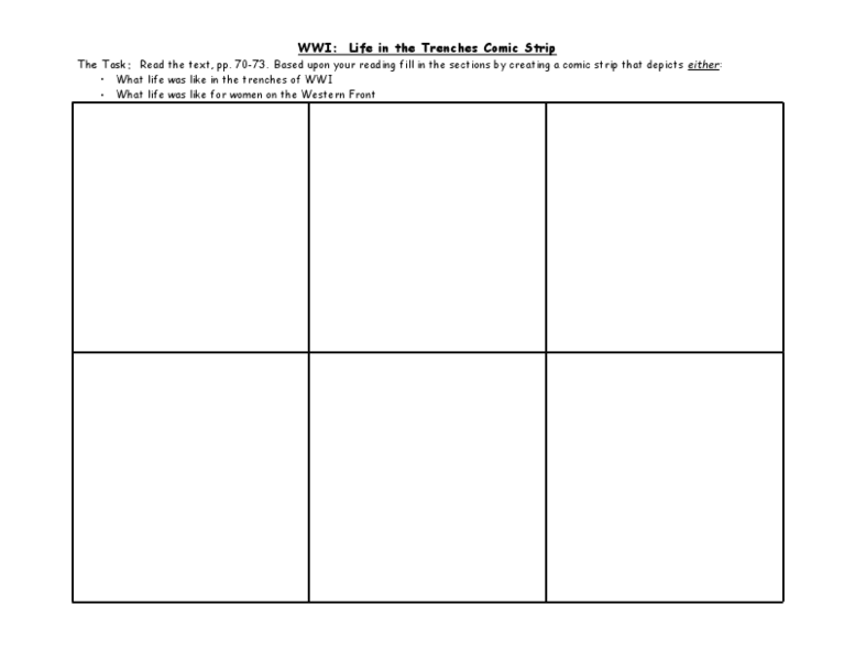 WWI: Life in the Trenches Comic Strip 8th - 12th Grade Worksheet ...