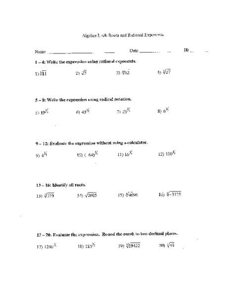 Algebra I: nth Root and Rational Exponents Worksheet