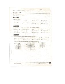 Slope Intercept Form Practice 5 4 Worksheet