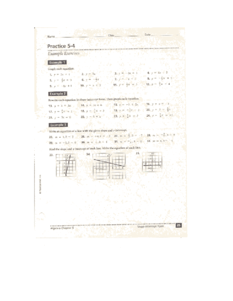 Slope Intercept Form Practice 5 4 Worksheet For 8th 10th