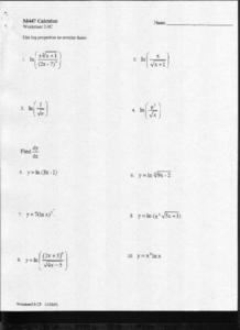Logarithmic Properties Worksheet