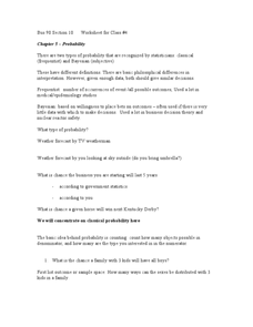 Chapter 5 - Probability Worksheet