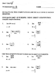 Trigonometric Computations Worksheet